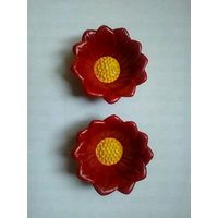 Decorative Clay Diya Yellow And Red Set Of 10