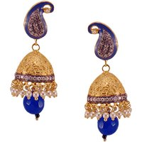 Habors Gold Meira Jhumki Earrings With Pearl