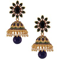 Habors Blue Aleeza Jhumki Earrings With Pearl