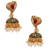 Habors Gold Meenakari Jhumki Earrings With Pearls