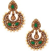 Habors Gold & Green Zoya Chandbali Earrings
