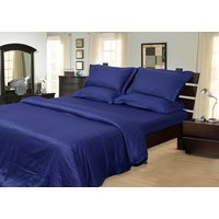 Mark Home Navy Blue Color Cotton King Size Bed Sheets With Two Pillow Covers