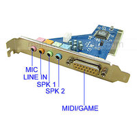 4 Ch Game 3D Audio PCI Internal PC Sound Card With MIDI Port