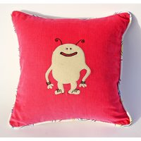 Pink And Cream Colour Embroidered Cushion Cover