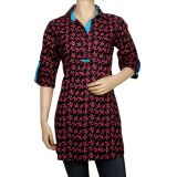 Rajrang Printed Cotton Kurti for Women PTP00028  (Red & Black)