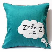 Teal Blue And White Colour Embroidered Cushion Cover