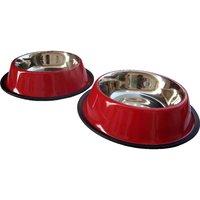 HMSTEELS Stainless Steel Pet Dog Bowl Anti Skid 2pc Set 32 Oz Red Color