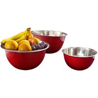 HMSTEELS Stainless Steel Fruit Satin Bowl 3 Pc Set 17 Cm, 21 Cm And 25 Cm Red Co