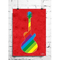 Cool Funky Music Guitar Wall Posters, Art Prints, Decals (8X12 Inches) Red