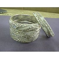 White Meenakari Studded With Stones Bangles Specially For Karwachauth And Diwali