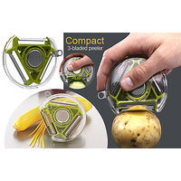 Compact 3 Bladed 3 In 1 Design Rotary Vegetable Fruit Peeler Heavy Quality_H6SP0