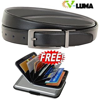V-Luma Black Leather Belt With Free Credit Card Holder For Men's V-Luma Man's Le