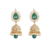 Rajwada Arts Traditional Green Color Jhumki With White Stones