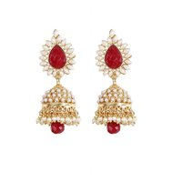 Rajwada Arts Traditional Red Color Jhumki With White Stones