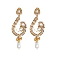 Rajwada Arts Fancy Long Earring In White Color With Pearl