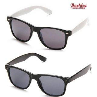 Backley BS-2431 Black & White Wayfarer Unisex Sunglasses