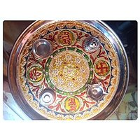Designer Pooja / Puja Thali With Ethinic Meenakari Work Done For Pooja At Home