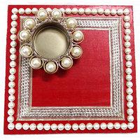 Beautiful Kundan And Pearls Diya Golden And Red