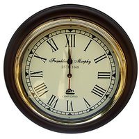 NAUTICALMART Brown And White Wooden And Glass Wall Clocks - 5378822
