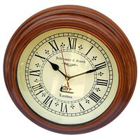 NAUTICALMART Brown And White Wooden And Glass Wall Clocks - 5379212