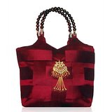 Maroon Silk Handbag With A Beautiful Beaded Handle