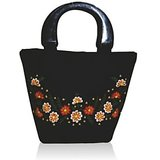 Floral Black Embroidered Silk Handbag