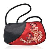 Red & Black Embroidered Stylish Twisted Handle Silk Handbag