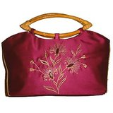 Dark Pink Embroidered Silk Handbag
