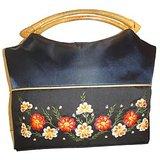 Navy Floral Design Silk Handbag