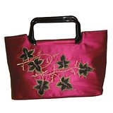 Dark Pink Thread Work Silk Handbag