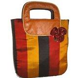 Multicolor Silk And Leather Designer Handbag