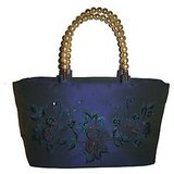 Royal Blue Self Thread Work Silk Handbag