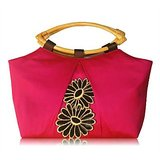 Pitchy Pink With Ultimate Black Patch Work Silk Handbag