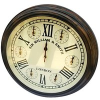 NAUTICALMART Brown And White Wooden And Glass Wall Clocks - 5381372