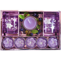 Purple Diwali Diya Set Of 8 Items 5 Small  Diya  And One Big And Also 2 Glasses