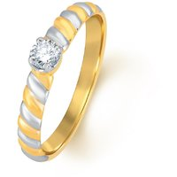 Jashn The Two Tone Solitiare Ring In Sterling Silver With Swarovski Diamond   # JNRSC051
