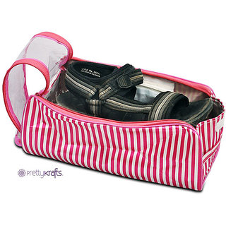 Pretty Krafts Travel Shoe cover (Pink) | Carry Case