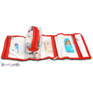 Pretty Krafts Vanity kit folding Rex (Red) | Shaving kit multi utility pouch C