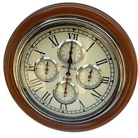 NAUTICALMART Brown And White Wooden And Glass Wall Clocks