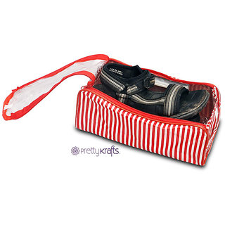 Pretty Krafts Travel Shoe cover (Red) | Carry Case