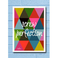 Stuffpanda Whacky Cool Abstract Motivation Screw Perfection Glass Frame Posters Wall Art (8x12 Inches)
