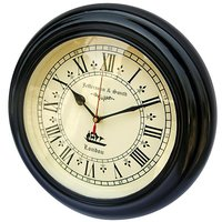 NAUTICALMART Black And White Wooden And Glass Wall Clocks - 5392934