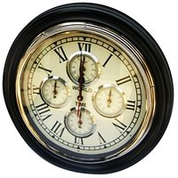 NAUTICALMART Black And White Wooden And Glass Wall Clocks