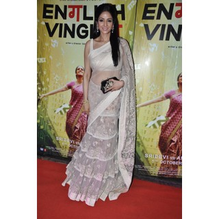 Sridevi Style White Saree At English Vinglish