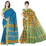Set of 2 Blue & Multi Checked Cotton Saree Combo SDCP03