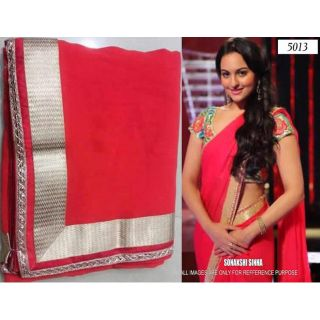 Sonakshi Sinha In Hot Pink Designer Bollywood Replica Saree