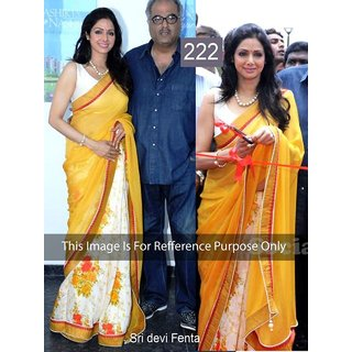 Sridevi Fanta Yellow Printed Bollywood Replica Saree