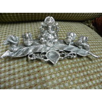 A Beautiful Set Of 5 Lord Musical Ganesha On Leaf Made Up Of German Silver