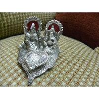 White Metal Made -Lakshmi Ganesh Diya For Diwali  And Other Festivals