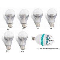 Combo Of 3 Colors LED Full Color Rotating Lamp 1  + Led Bulb 3,5,8,10,12,15 Watt